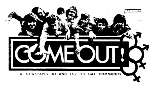 come out magazine masthead, 1969